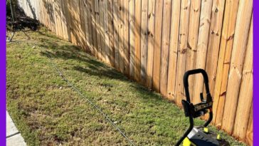 Power washing fence to prep for stain. Looks almost like new wood after the wash.